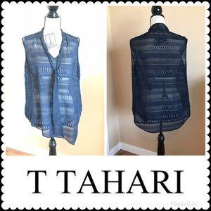 T Tahari Sheer Asymmetric Tie-Neck Navy top